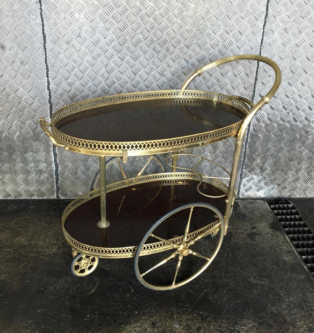 vintage servierwagen messing mahagoni. Black Bedroom Furniture Sets. Home Design Ideas